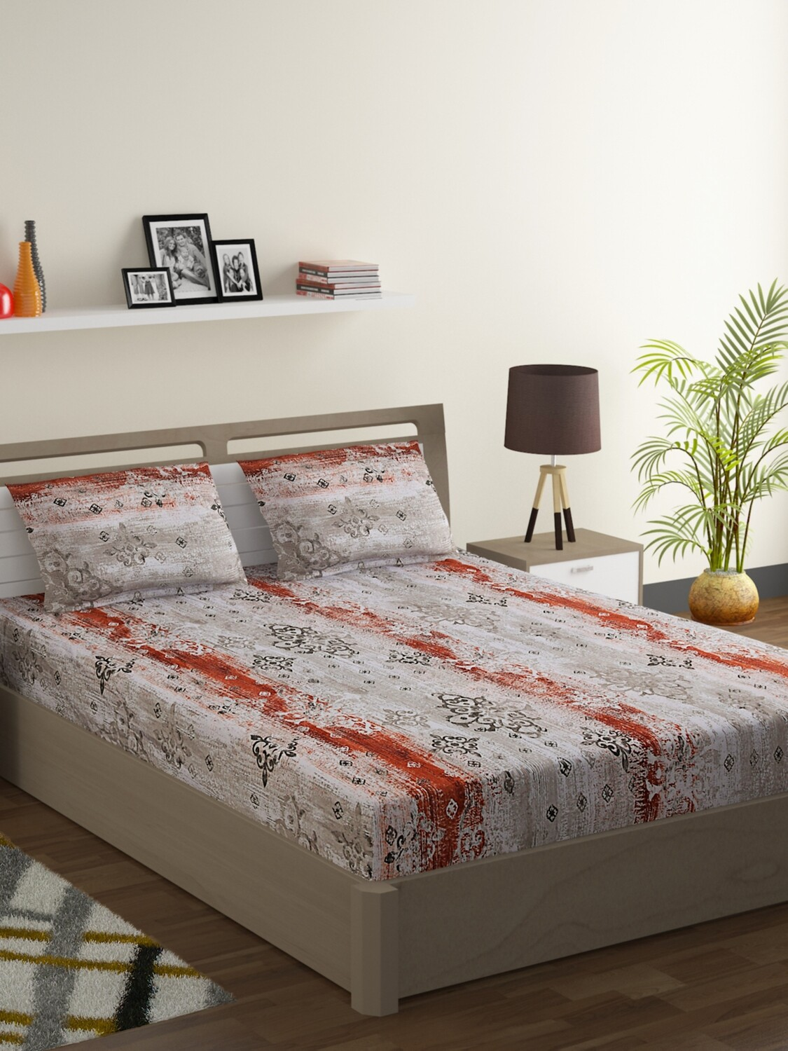 Swayam Burnt Siena Grunge Medallion 160 TC Cotton Double Bedsheet with 2 Pillow Covers