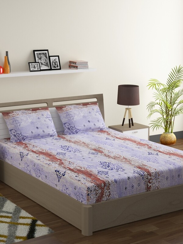 Swayam Pink Grunge Medallion 160 TC Cotton Double Bedsheet with 2 Pillow Covers