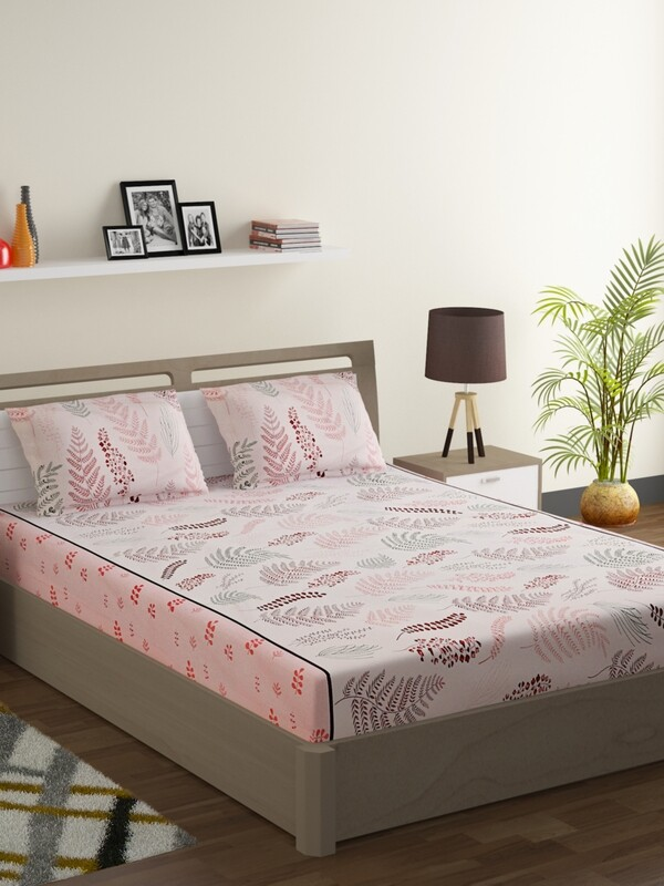 Swayam Peach Leaf Platter 160 TC Cotton Double Bedsheet with 2 Pillow Covers