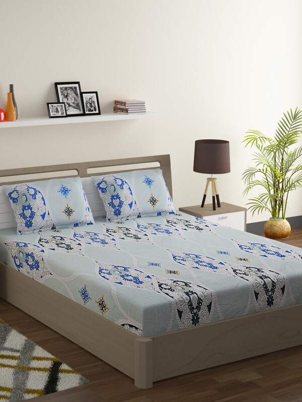 Swayam Dull Aqua Persian Motif 160 TC Cotton Double Bedsheet with 2 Pillow Covers