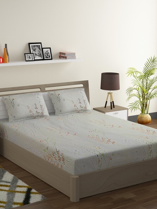Swayam Pista Green Flower Sticks 160 TC Cotton Double Bedsheet with 2 Pillow Covers