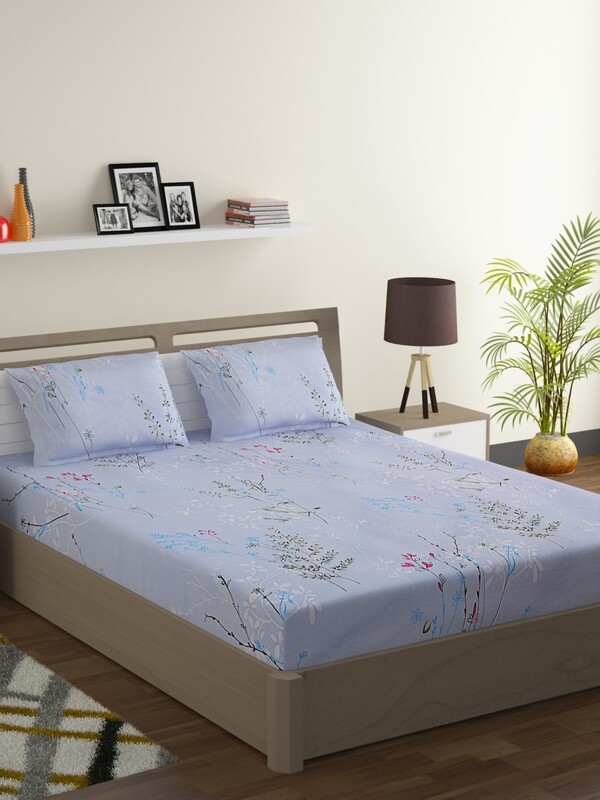 Swayam Sky Blue Flower Sticks 160 TC Cotton Double Bedsheet with 2 Pillow Covers