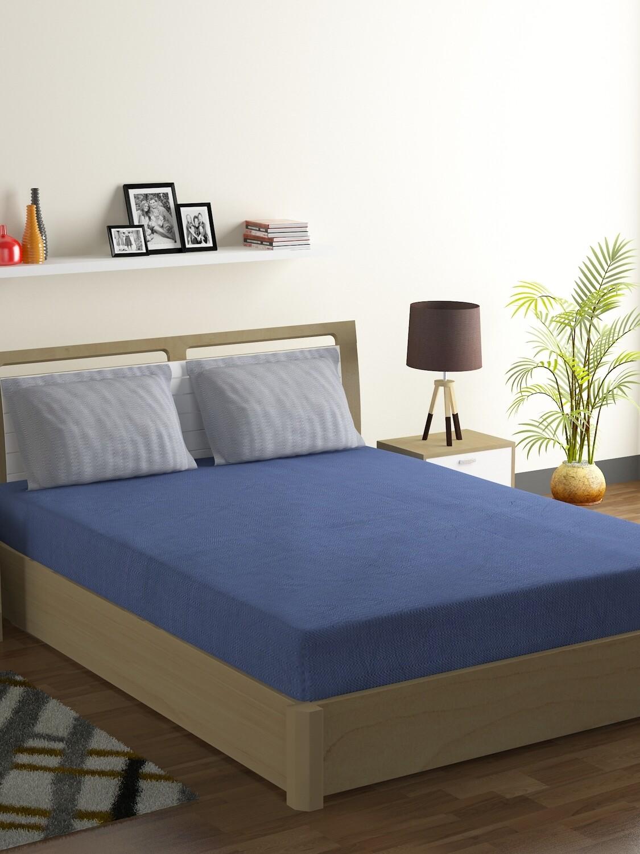 Swayam Indigo Smoky Chevron Polycotton Double Bedsheet with 2 Pillow Covers