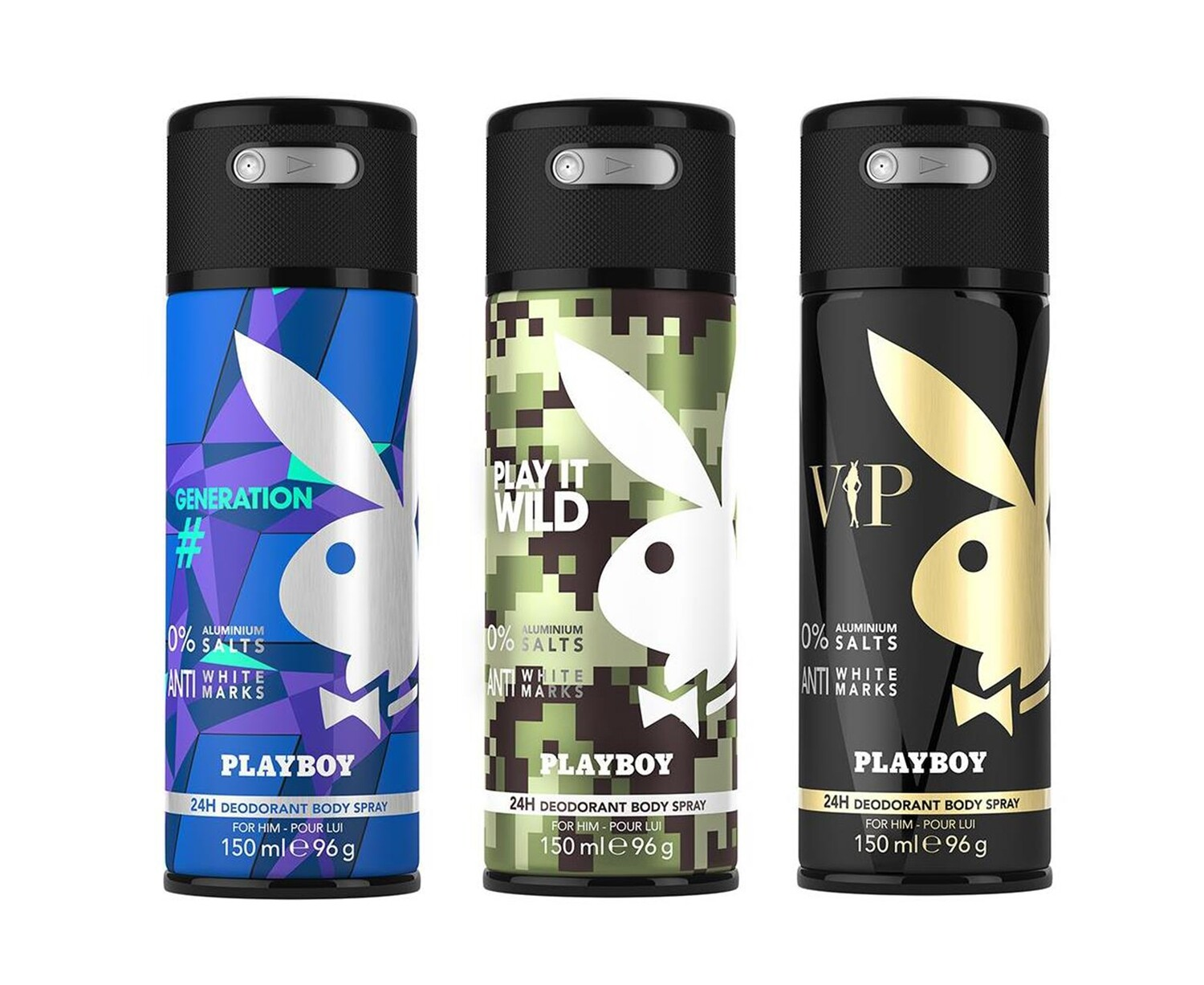 Playboy Generation + Wild + VIP Deo New Combo Set - Pack of 3 Men