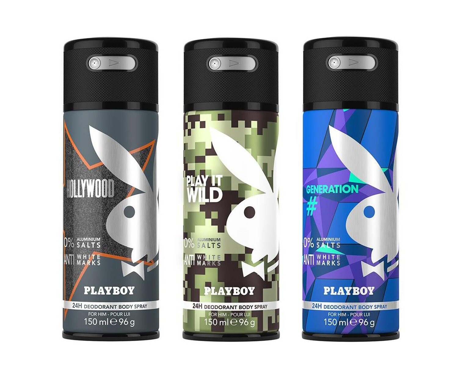 Playboy Hollywood + Wild + Generation Deo New Combo Set - Pack of 3 Men