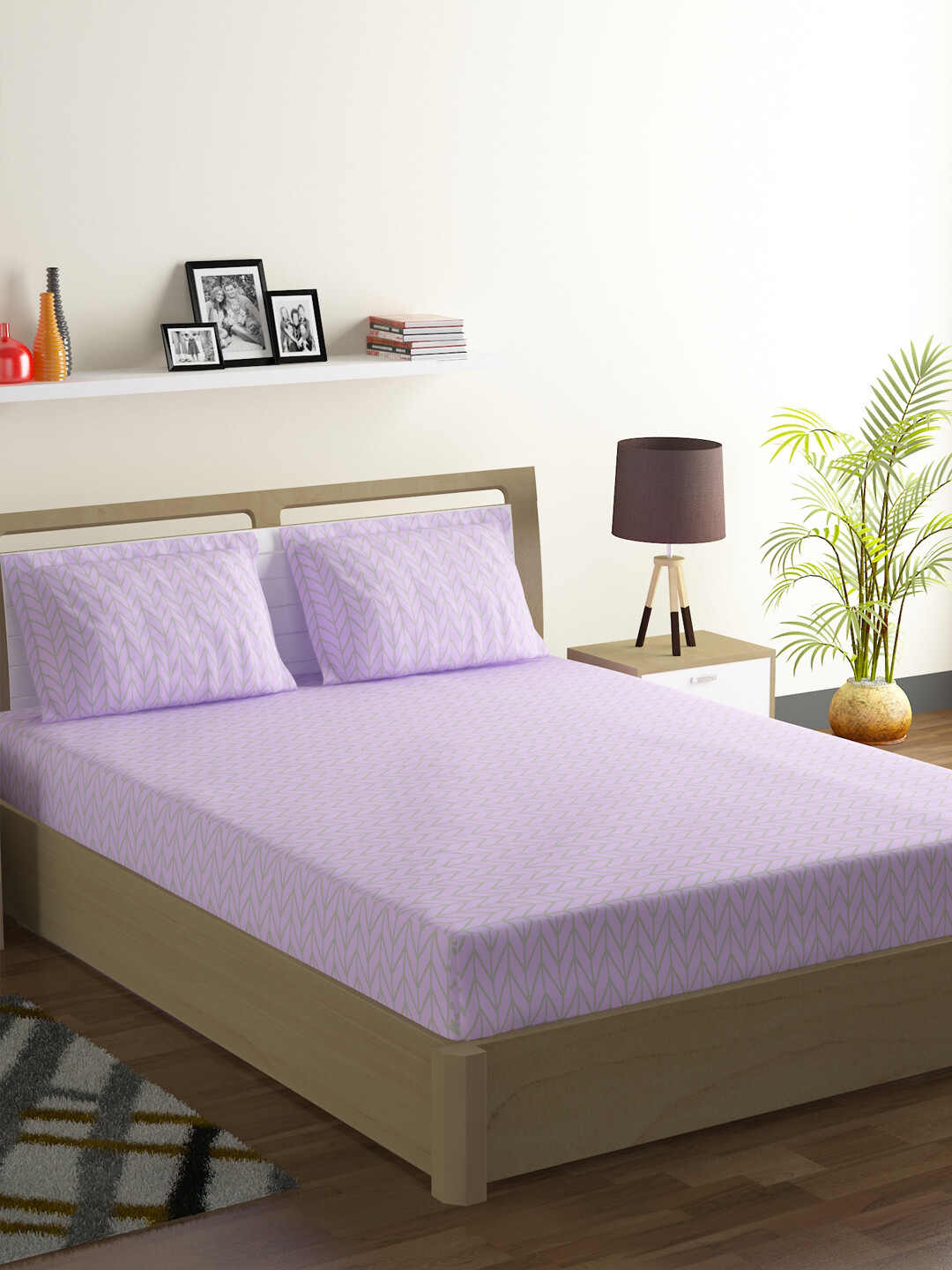 Swayam Blueberry Herringbone Polycotton Double Bedsheet with 2 Pillow Covers