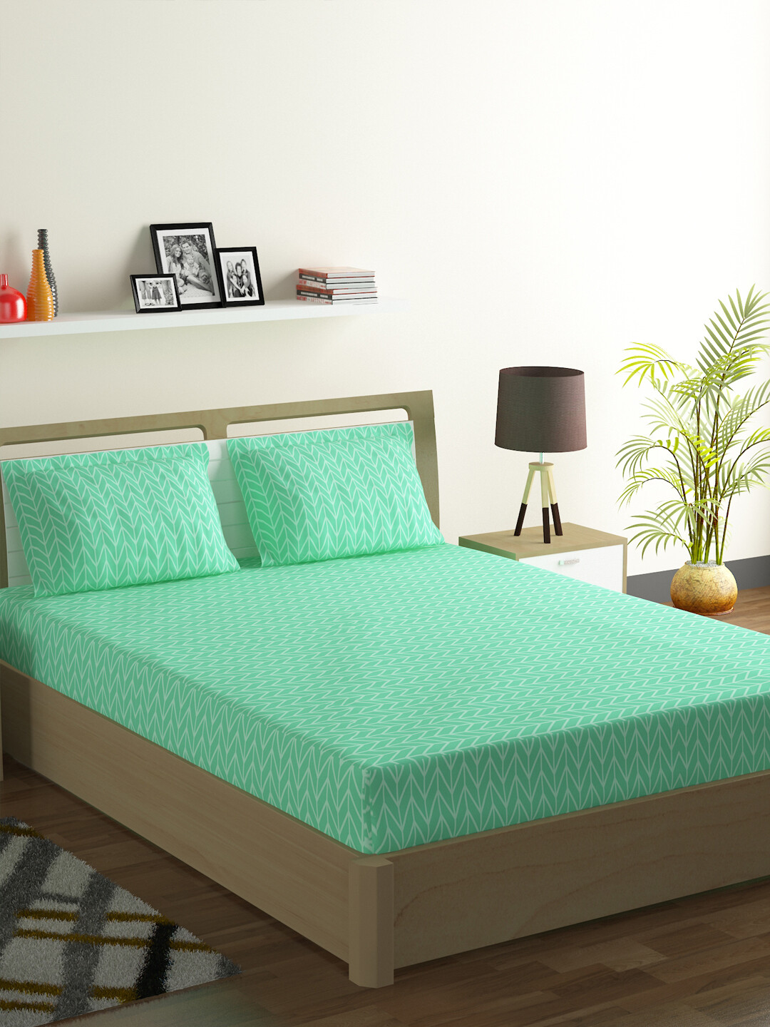 Swayam Pistachio Herringbone Polycotton Double Bedsheet with 2 Pillow Covers