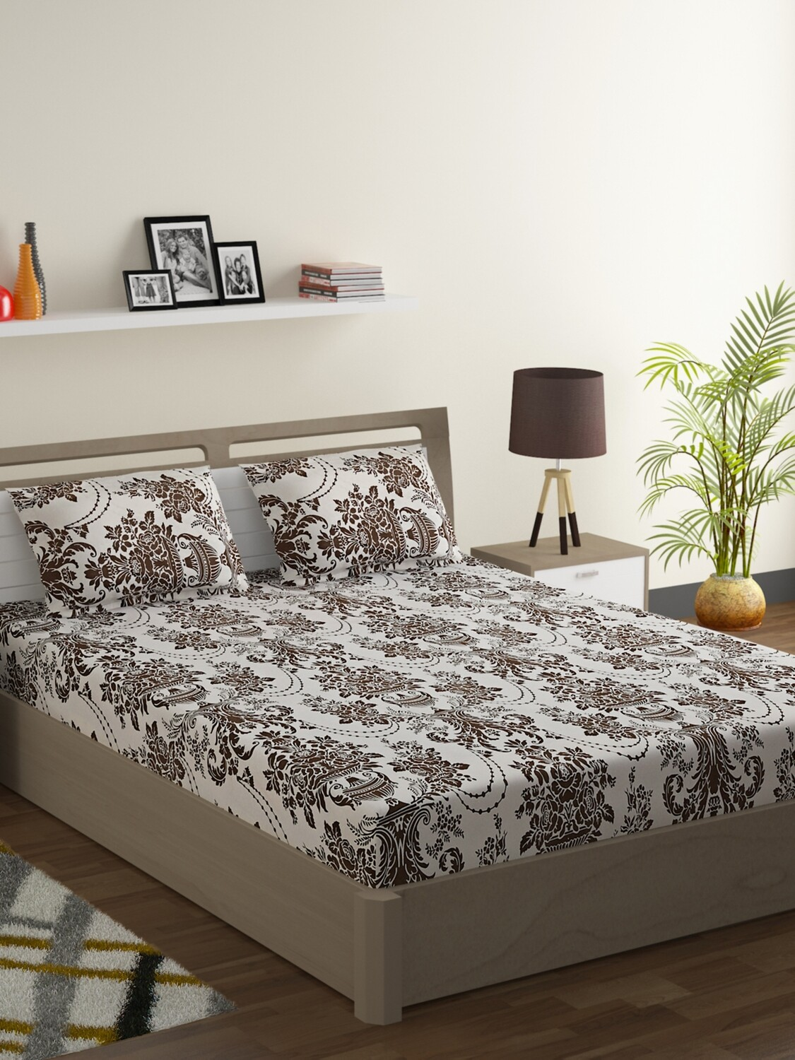 Swayam Brown Abstract Chandelier 120 TC Cotton Double Bedsheet with 2 Pillow Covers