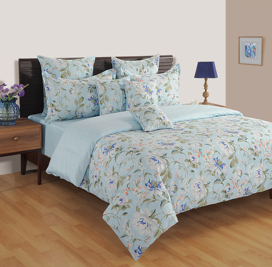 Swayam Lily of the Nile 120 TC Cotton Double Bedsheet with 2 Pillow Covers