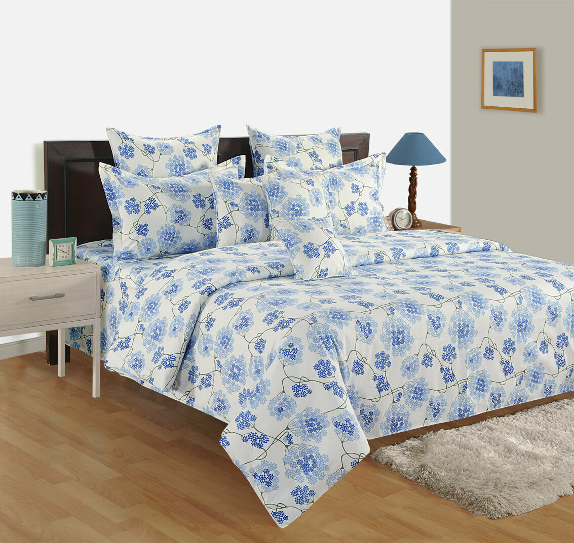 Swayam Blue Orchids 120 TC Cotton Double Bedsheet with 2 Pillow Covers