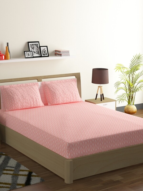 Swayam Carnation Herringbone Polycotton Double Bedsheet with 2 Pillow Covers