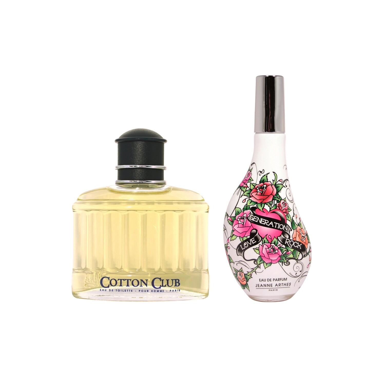 Jeanne Arthes Cotton Club Pour Homme Eau de Toilette for Men + Love Generation Rock Eau de Parfum for Women Combo Set - Pack of 2