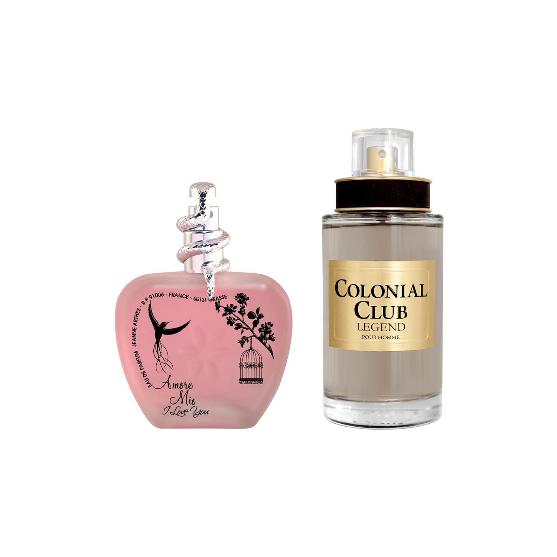 Jeanne Arthes Colonial Club Legend Eau de Toilette for Men + Amore Mio I Love You Eau de Parfum for Women Combo Set - Pack of 2
