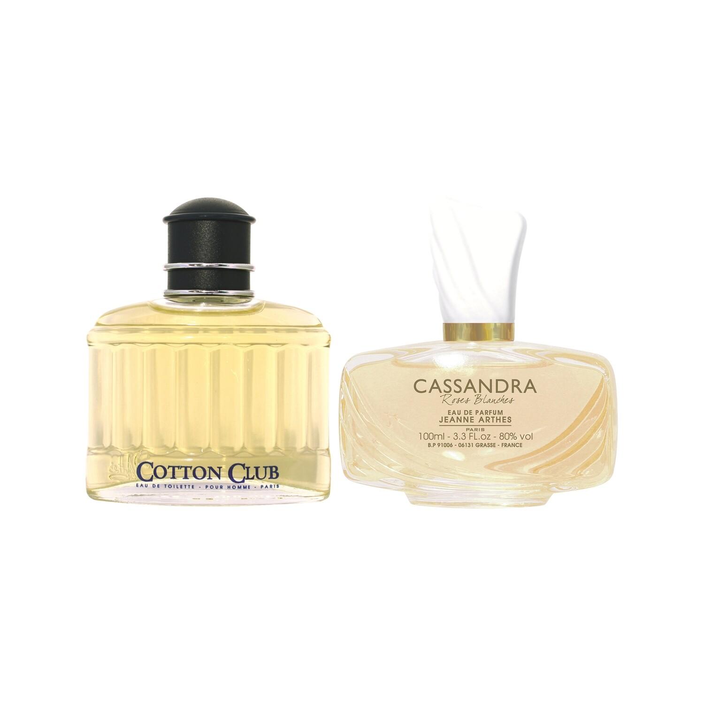 Jeanne Arthes Cassandra Roses Blanches Eau de Parfum for Women and Cotton Club Pour Homme Eau de Toilette for Men Combo Set - Pack of 2