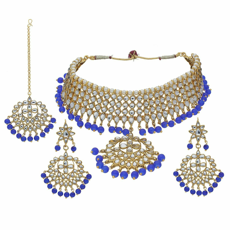 Aheli Traditional Maang Tikka With Kundan Necklace Earrings Jewelry Set for Women