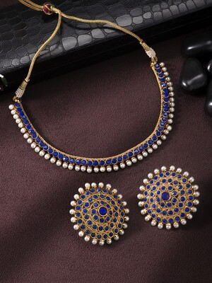 Aheli Bollywood Faux Stone Wedding Jewelry Set In Blue