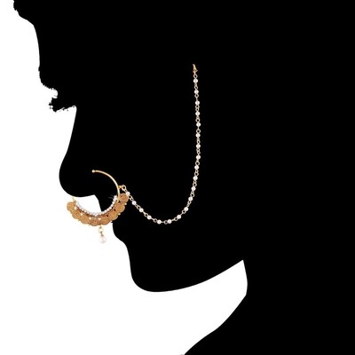Aheli Wedding Wear Nose Ring Nath with Pearl Chain