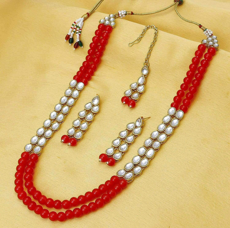 Aheli Traditional Kundan Pearl Necklace Earring And Maang Tikka Set
