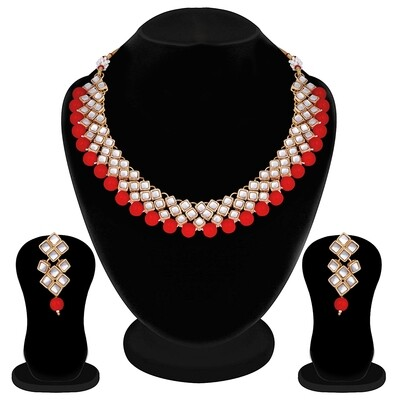 Aheli Traditional Kundan Pearl Necklace And Earring Set