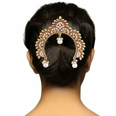 Aheli Traditional Wear Hair Brooch Pin Antique Gold Tone for Women
