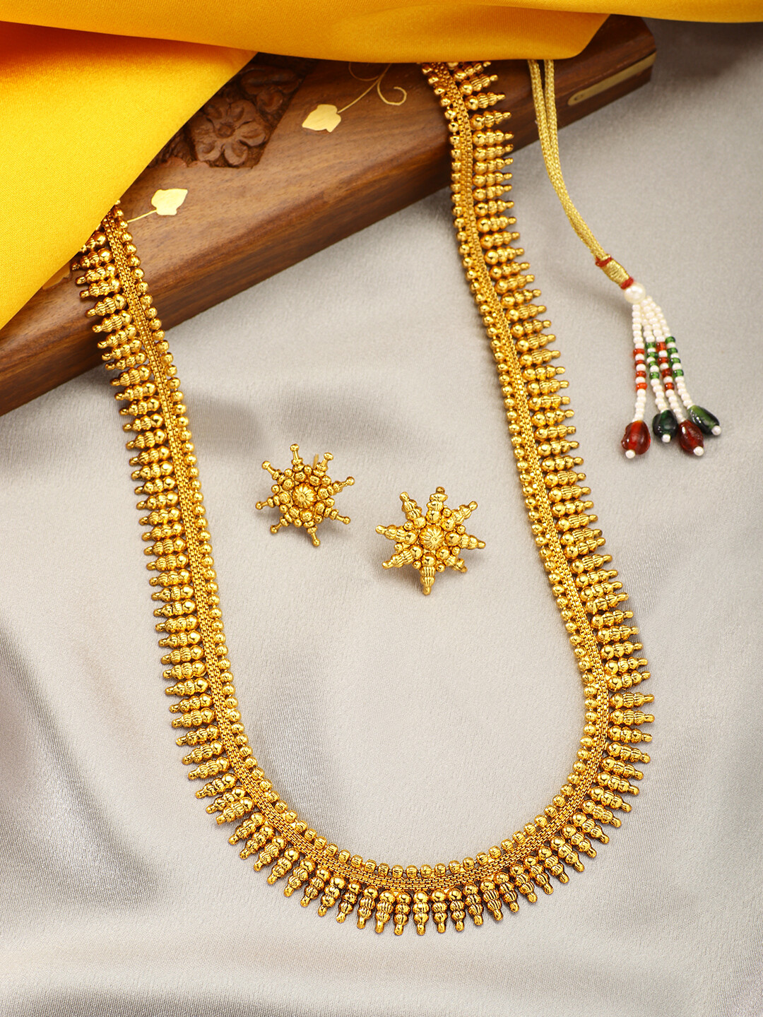 Aheli Traditional Gold Tone Long Necklace Earrings Set
