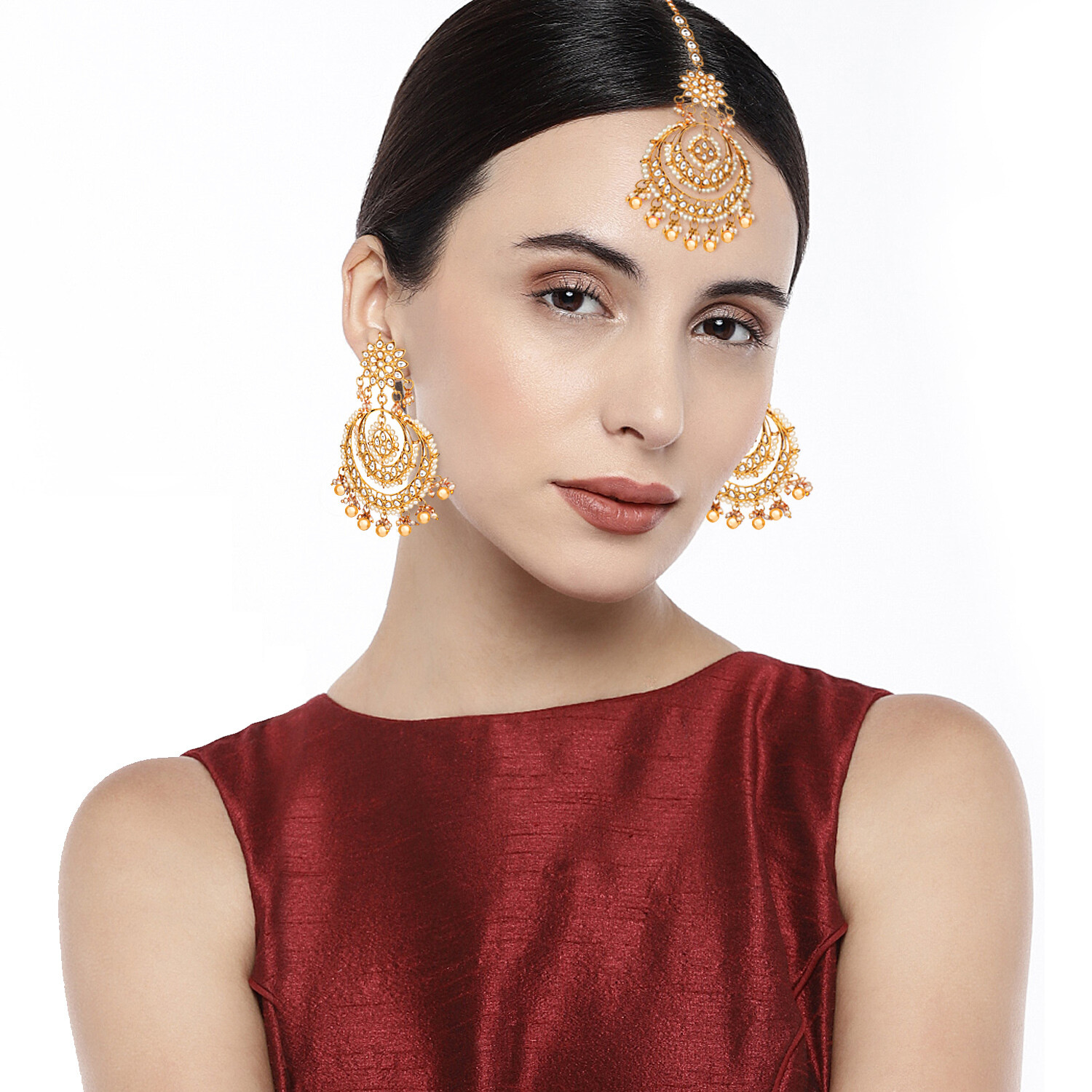 Aheli Gold Ethnic Chandbali Style Earrings Maang Tikka Set