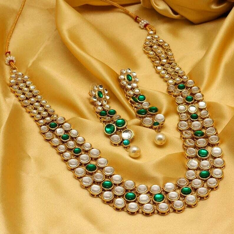 Aheli Wedding Party Faux Kundan And Pearl Necklace Earrings Set
