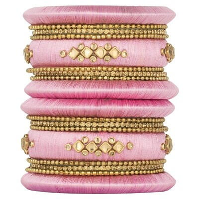 Aheli Pink Silk Thread Faux Stone Studded Bangle Chudha Set
