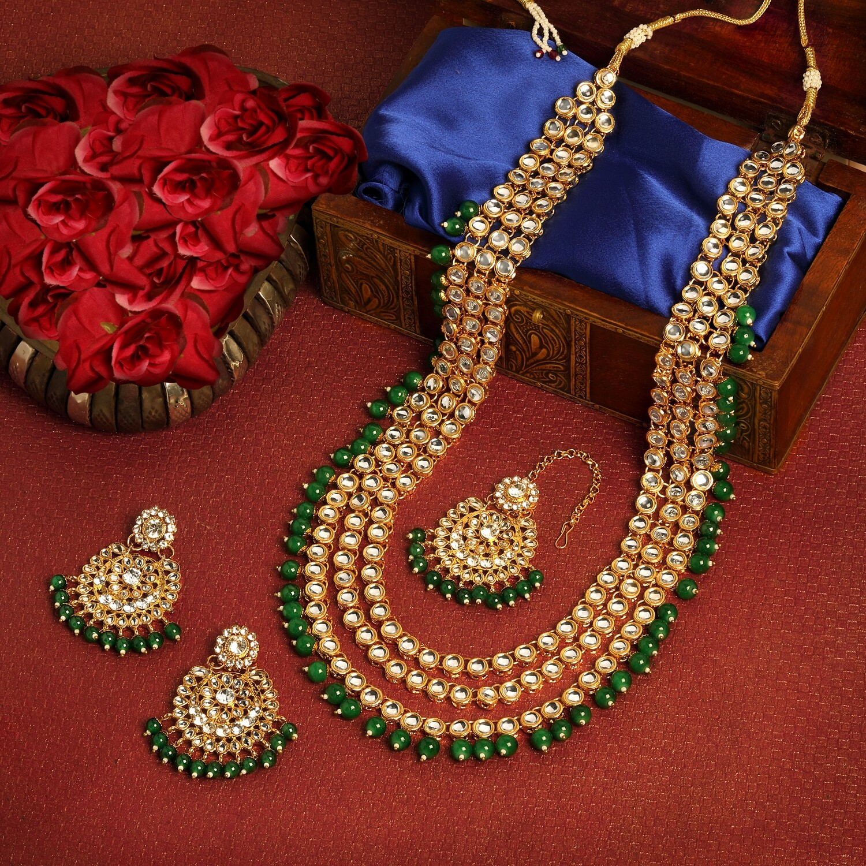 Aheli Ethnic Green Kundan Bridal Traditional Jewellery