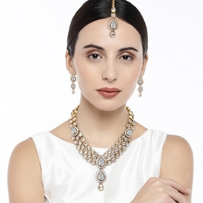 Aheli Party Wear Faux Stone Necklace And Maang Tikka Set