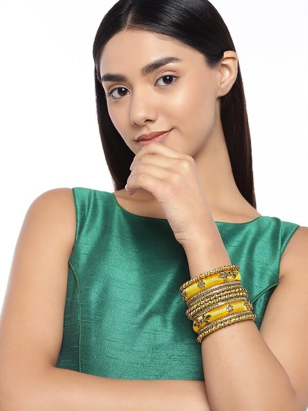 Aheli Yellow Silk Thread Faux Stone Studded Bangle Chudha Set