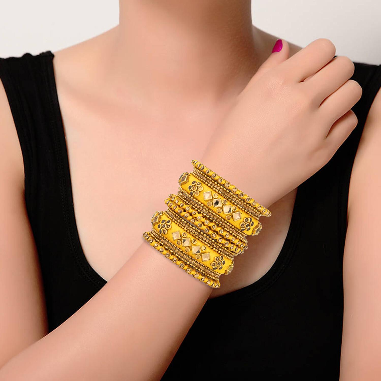 Aheli Golden Silk Thread Faux Stone Studded Bangle Chudha Set