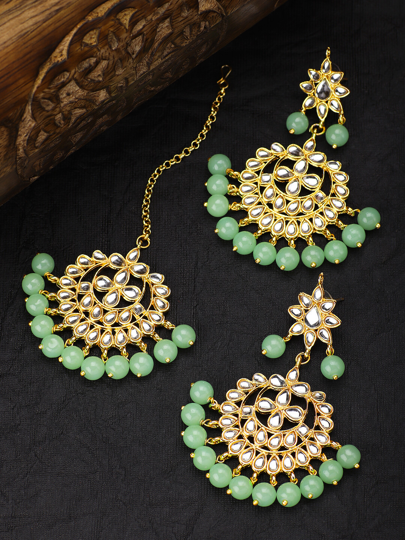 Aheli Light Green Ethnic Chandbali Style Earrings Maang Tikka Set