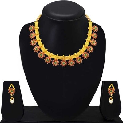 Aheli Flower Shape Multicolor Faux Stone Wedding Necklace And Earrings Jewelry Set for Women