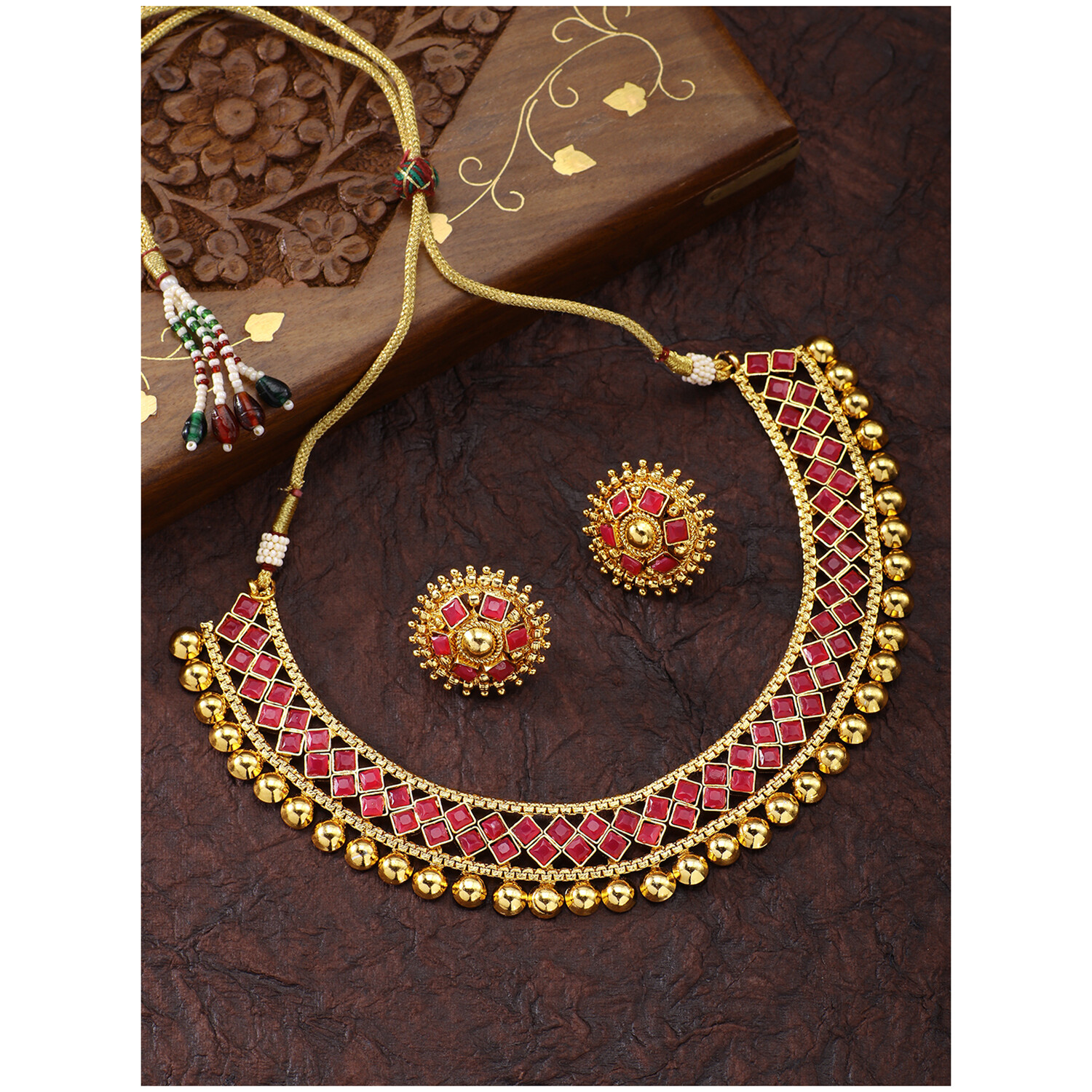 Aheli Gold Tone Faux Stone Studded Necklace With Stud Earring Jewelry Set