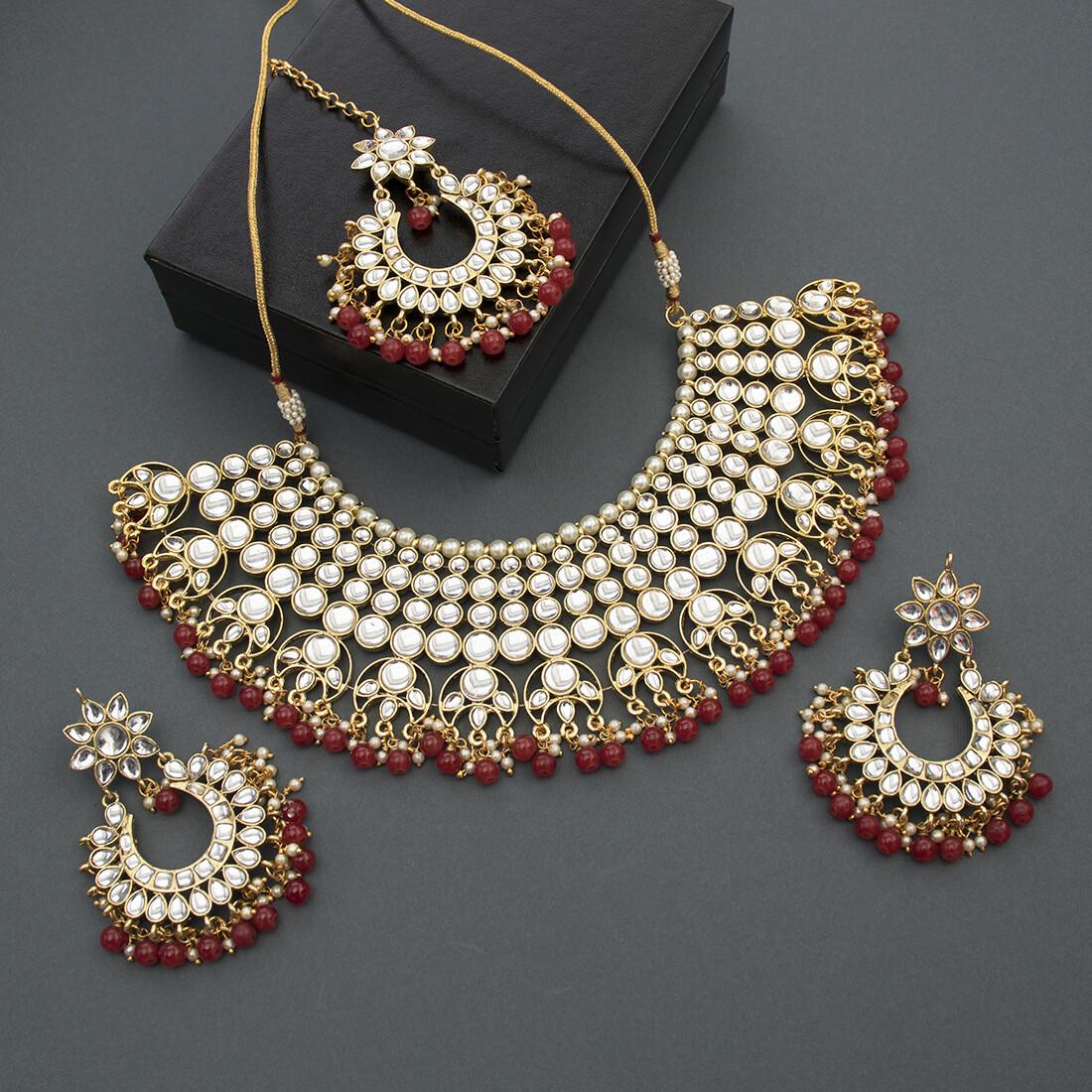 Aheli Party Wear Faux Kundan Pearl Beaded Necklace Earrings And Mang Tikka  Jewelry Set