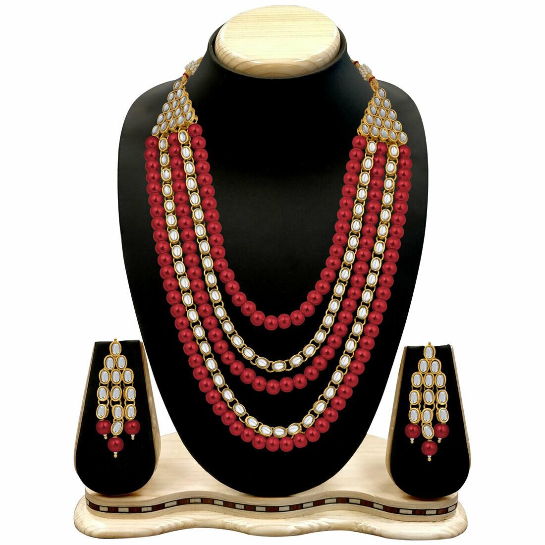 Aheli Kundan Pearl Long Multi Layered Necklace Earring Set Jewelry For Women