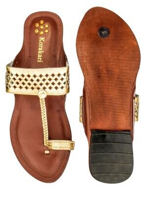 KORAKARI Diamond Punching Golden Upper and Tan Color Base Pure Leather Kolhapuri Chappal for Women
