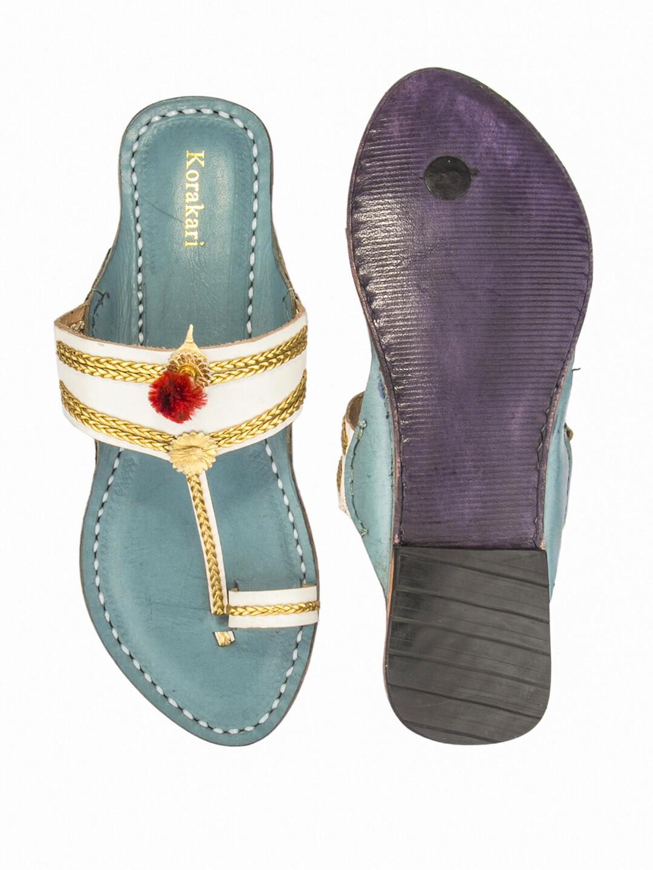 KORAKARI White and Sky Blue Pure Leather Kolhapuri Chappal For Women