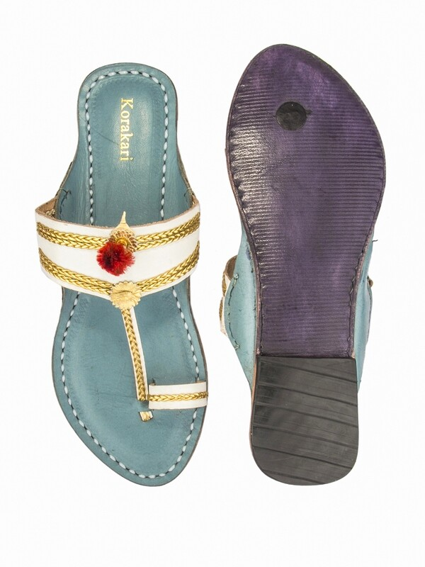 KORAKARI White and Sky Blue Pure Leather Kolhapuri Chappal For Women