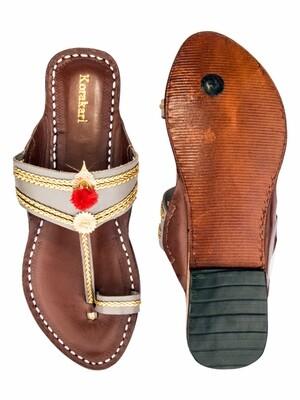 KORAKARI Grey And Light Brown Pure Leather Kolhapuri Chappal For Women