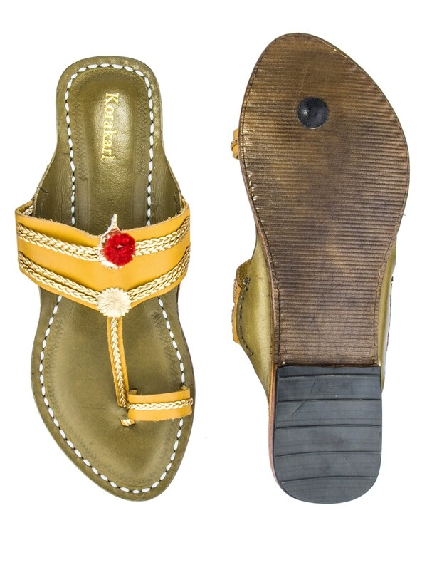 KORAKARI Dark Yellow And Olive Green Pure Leather Kolhapuri Chappal For Women