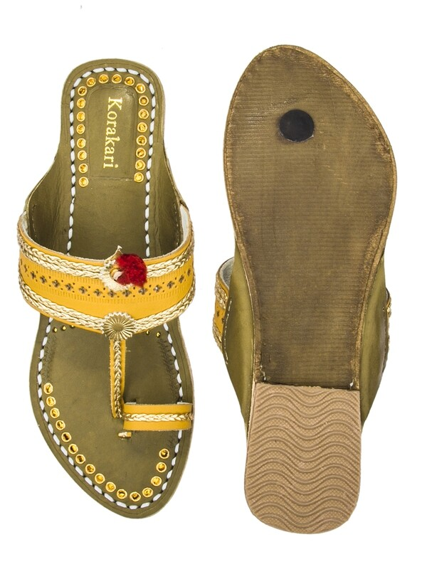 KORAKARI Yellow Upper And Green Base Golden Braids Pure Leather Kolhapuri Chappal For Women