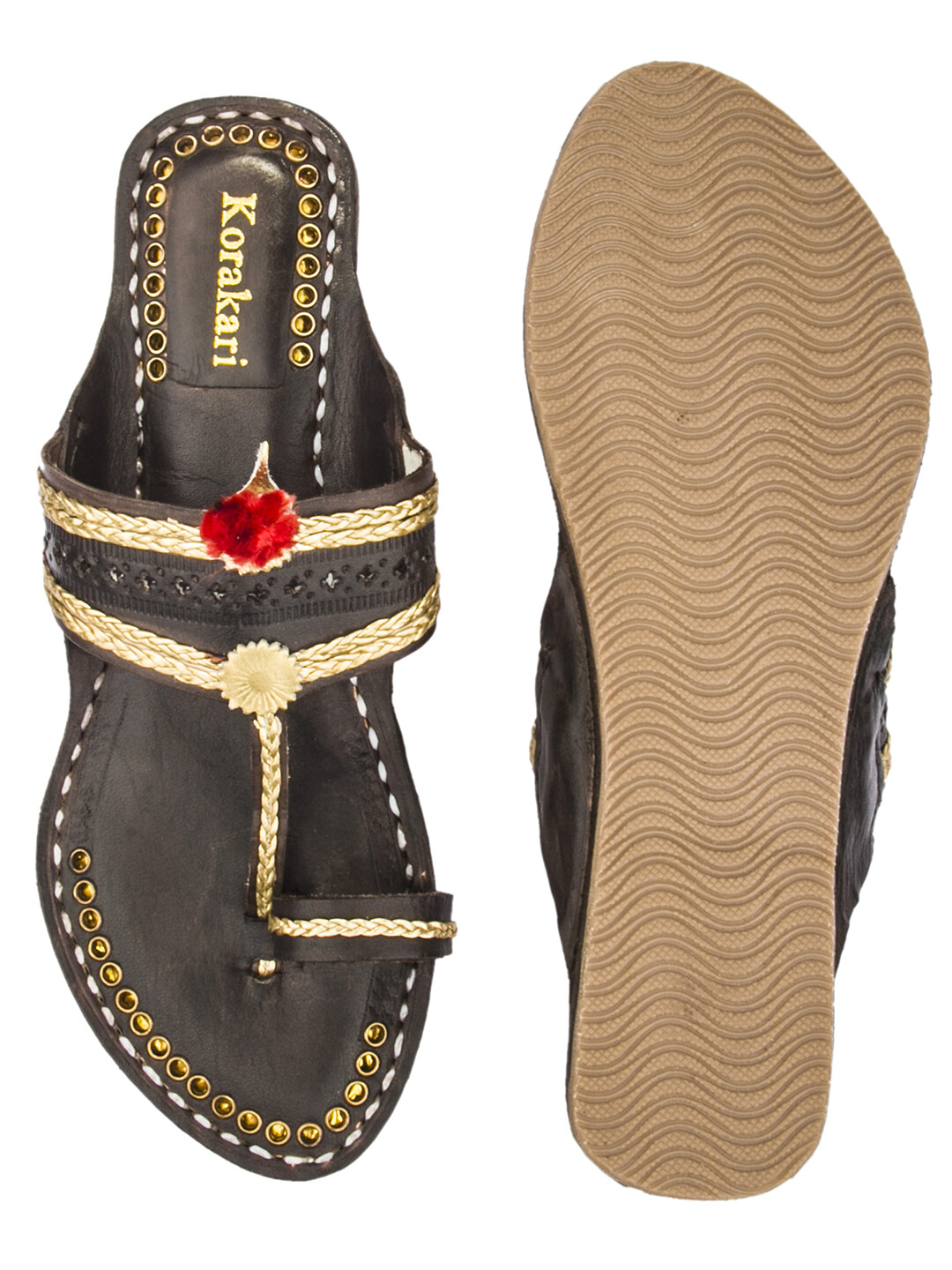 KORAKARI Dark Brown Golden Braids Pure Leather Kolhapuri Chappal For Women