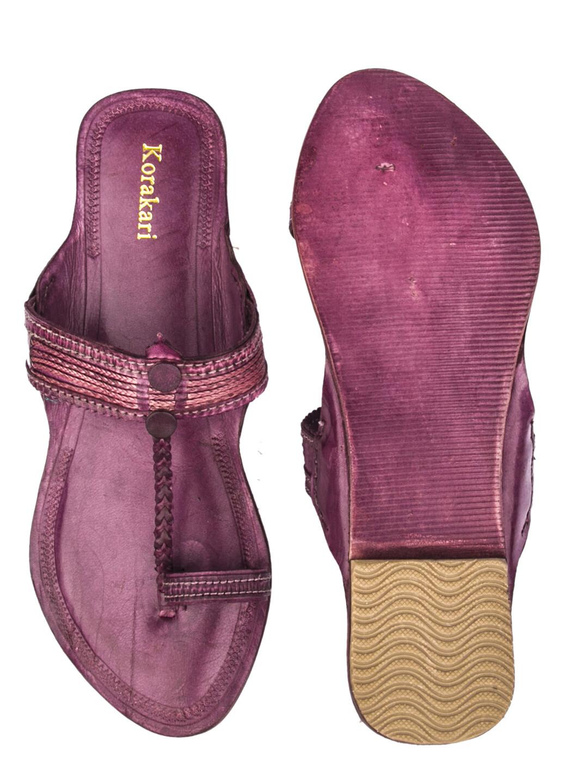 KORAKARI Purple Pure Leather Kolhapuri Chappal For Women