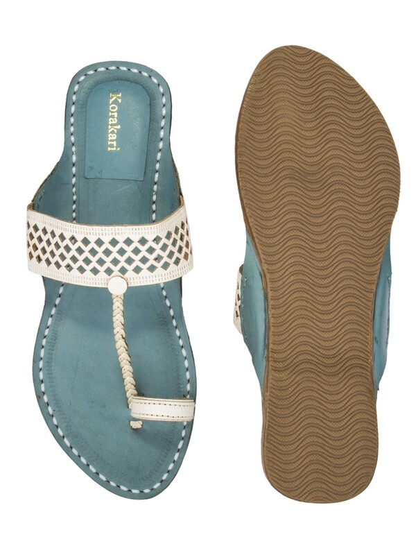 KORAKARI Diamond Punching White Upper And Sky Blue Base Pure Leather Kolhapuri Chappal For Women