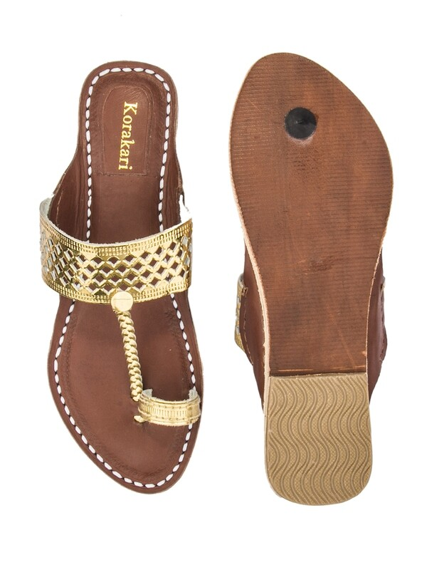 KORAKARI Diamond Punching Golden Upper And Brown Base Pure Leather Kolhapuri Chappal For Women