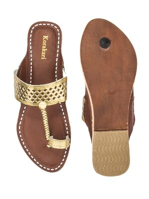 KORAKARI Diamond Punching Golden Upper And Brown Base Pure Leather Kolhapuri Chappal For Women