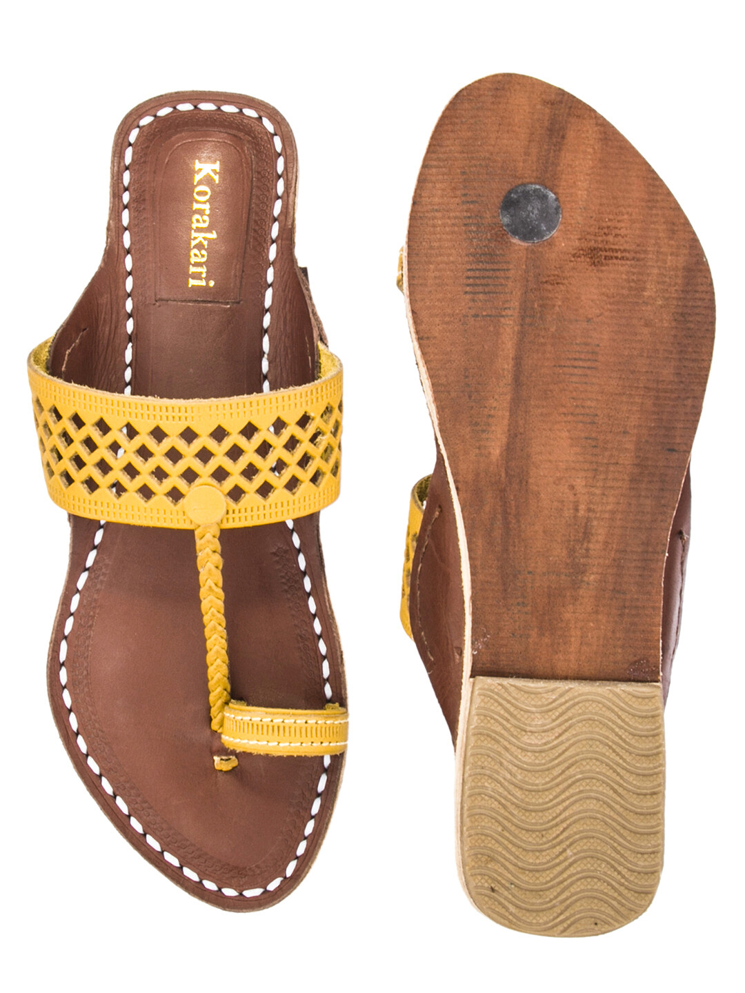 KORAKARI Diamond Punching Yellow Upper And Brown Base Pure Leather Kolhapuri Chappal For Women