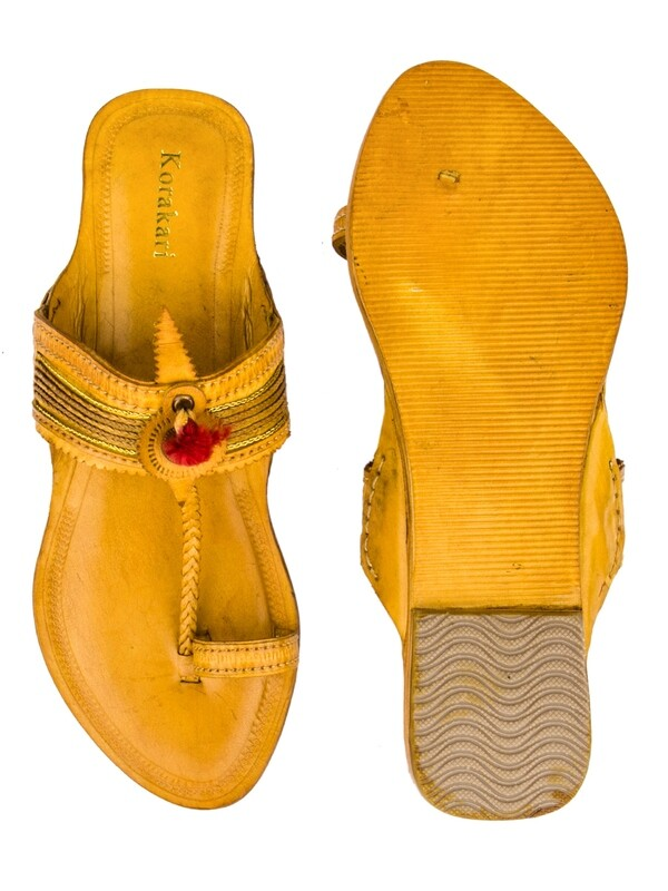 KORAKARI Yellow Pure Leather Kolhapuri Chappal For Women